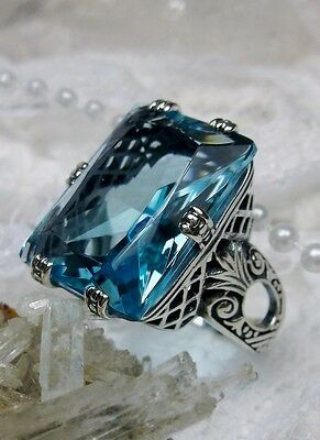 30ct *Aquamarine* Art Deco Sterling Silver Filigree Ring Size: {Made To Order}