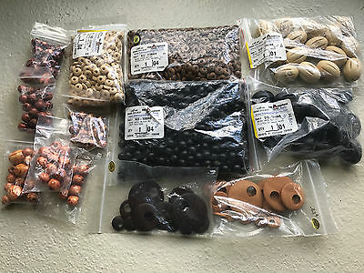 Fire Mountain Gems Natural, Brown, BLK Wood Beads Lot