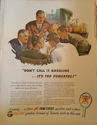 1944 texaco oil sky chief fire chief men business suits ad