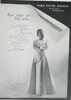1940 Saks Fifth Avenue women's lingerie housecoat quilted robe fashion ad