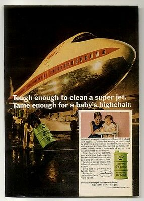 1970 TWA airlines Boeing 747 plane photo Janitor in a Drum cleaner print ad