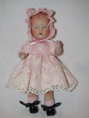 """9"""" Artist Made All Bisque Doll Dressed Pretty"""