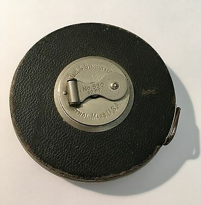Vintage Early 1900's L.s. Starrett, Metal 50 Ft. Tape, #530, Leather Cover