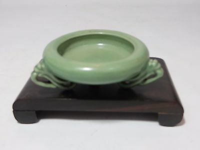 Lovely celadon Chinese porcelain brush washer with 3 legged stand
