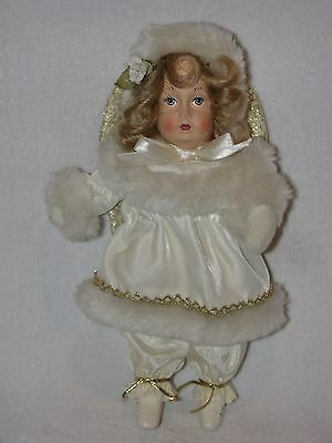 "Pretty 10"" Angel Doll Dressed In Ivory & Fur"