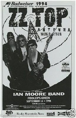 "Zz Top / Ian Moore Band 1994 Denver ""antenna World Tour"" Concert Poster"