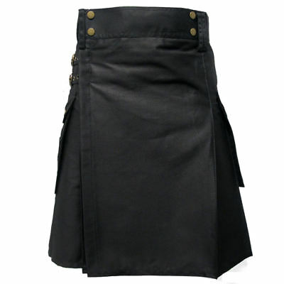 Tartanista Black Heavy Cotton Utility/Wilderness Kilt For The Active Man 30-54