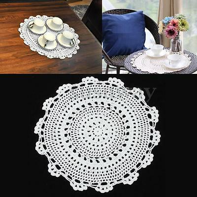 33CM Dia Pure Cotton Handmade Crochet Lace Doily Placemat Round Flower Table Mat