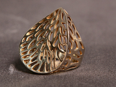 @d50 Banyan Tree Ring Gold Plated Sterling Silver Made To Order Choose Your Size