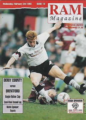 DERBY COUNTY v BRENTFORD 1992/93 ANGLO-ITALIAN CUP SEMI FINAL 2nd LEG 03/02/1993