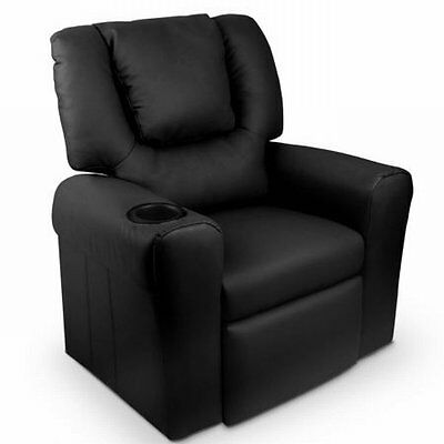NEW Ultra Wide Arm Padded Leather Luxury Kids Little Recliner Sofa Chair - Black