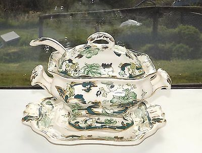 Masons Ironstone Chartreuse Green Sauce Tureen Ladle & Stand