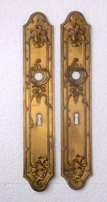 Pair of Vintage French Rococo Brass Door Finger Plates 1st of 3 Pairs