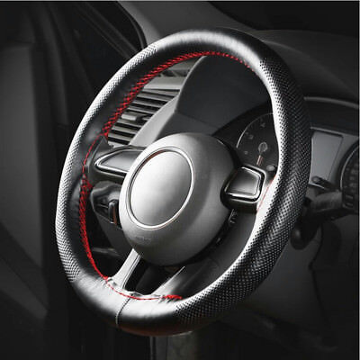 Universal Genuine Real Leather Car Steering Wheel Cover Glove +Needle&Thread DIY