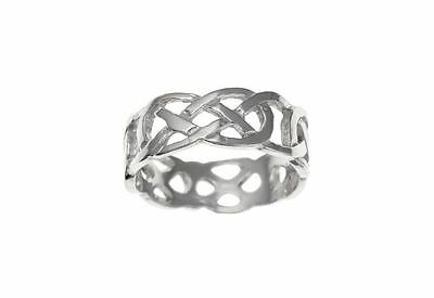 Unisex Hallmarked Sterling Silver 7mm Heavy Celtic Band Wedding Ring Size J-Z