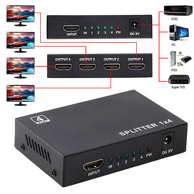 Full HD 1X4 4Port Hub Repeater v1.4 3D 1080p Amplifier HDMI Splitter Box ZB