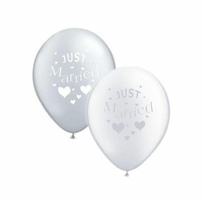 10 Just Married Silver White Wedding Party Decoration Latex Printed Balloons