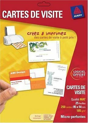 Avery 80 Cartes De Visite Bords Lisses