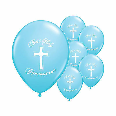 10 Blue Boy First Holy Communion Church Party Decoration Latex Printed Balloons