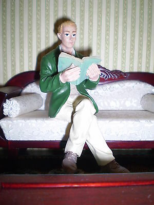 Dolls house figure 1/12th scale Poly/Resin Man sat reading