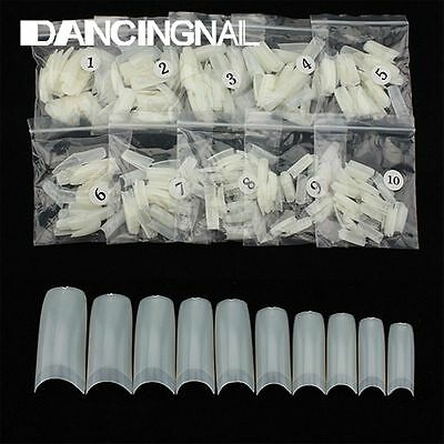 500x Nude Natural French Acrylic Gel False Half Well Nail Art Tips Salon DIY