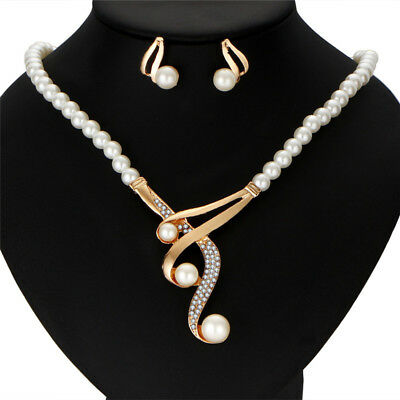 Hot Fashion Pearl Necklace Earrings Sets Wedding Gift Jewelry For Women