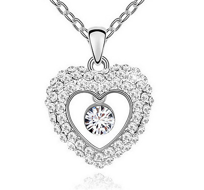 Fashion Womens Heart  Clear Crystal Rhinestone Silver Chain Pendant Necklace ——
