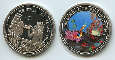 PA18 - Palau 1 Dollar 1994 KM#5 Marine Life Protection Multicolor Farbmünze