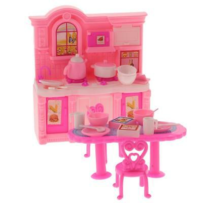 Fashion Dolls Kitchen Furniture Play Set for Barbie Kelly Doll Accessories