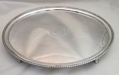 A Large Fine Oval Old Sheffield Plate Tray c1790 - Inlaid Silver cartouche