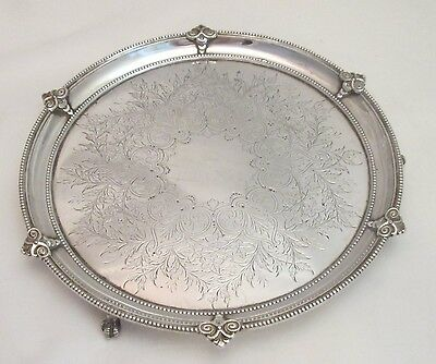 A Fine Silver Plated Tray on Claw Feet - 19th Century