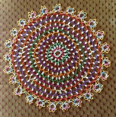 Large Funky Vintage Tatted Doily, Many Bright Colors, Vintage Tatting, 15 in.