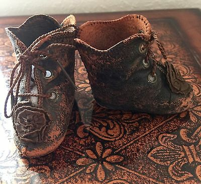 Original Antique Black Leather Shoes/boots With Rosettes