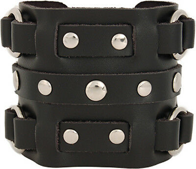 Men's 3 Strap Black Cuff Wrist band - Rings & Studs - Genuine Leather