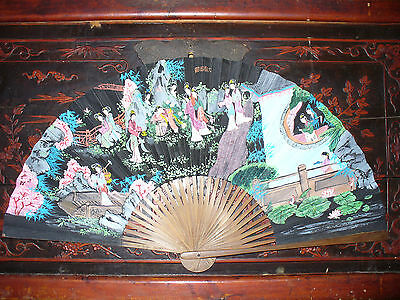 Antiuqe Chinese Hand Painted Fan with Signature