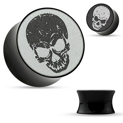 Flesh Tunnel Acryl Plug 3D Holographie Totenkopf Motiv Saddle Fit Double Flared