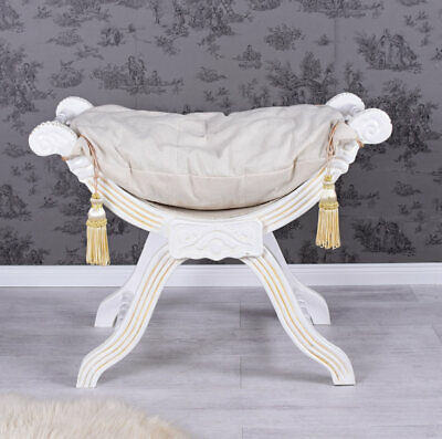Stool Gondole Tabouret Seat Louis  Style Antique White
