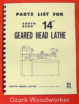 "SOUTH BEND 14"" Gear Head Lathe Operators Parts Manual 0668"