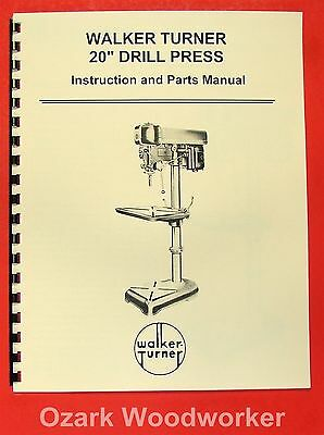 "WALKER-TURNER 20"" Drill Press Operator's & Parts Manual 0757"