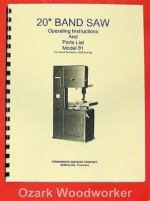 "POWERMATIC 81 20"" Band Saw Model Operating/Parts Manual 0522"