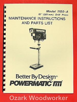 "POWERMATIC 1150A 15"" Drill Press Operate-Part Manual 0513"