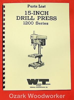 "WALKER TURNER 1200 15"" Drill Press Parts Manual 0742"