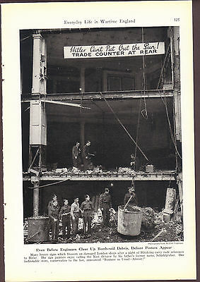 Message to Hitler Bombed out Building War Time England April 1941 Magazine Photo