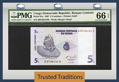 TT PK 81a 1997 CONGO DEMOCRATIC REPUBLIC 5 CENTIMES PMG 66 EPQ POPULATION ONE