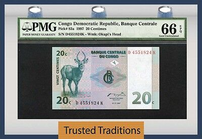 TT PK 83a 1997 CONGO DEMOCRATIC REPUBLIC 20 CENTIMES PMG 66 EPQ GEM UNCIRCULATED