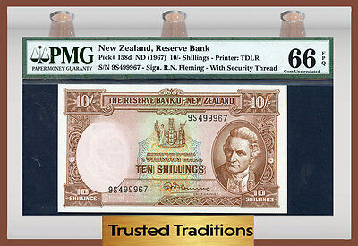 TT PK 158d 1967 NEW ZEALAND 10/- SHILLINGS PMG 66 EPQ GEM NONE FINER!