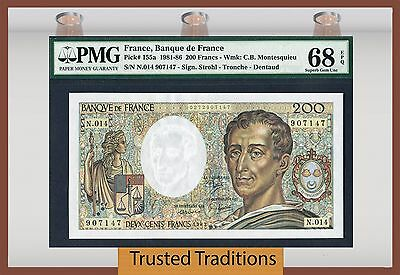 TT PK 155a 1981-86 FRANCE 200 FRANCS PMG 68 EPQ SUPERB GEM NONE FINER!