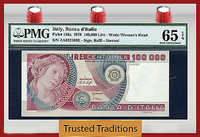 TT PK 108a 1978 ITALY 100000 LIRE PMG 65 EPQ GEM UNCIRCULATED WITH ONLY 3 FINER
