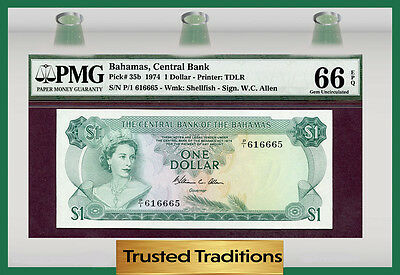 TT PK 35b 1974 BAHAMAS 1 DOLLAR PMG 66 EPQ GEM UNCIRCULATED