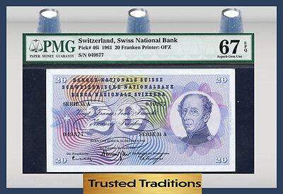 TT PK 46i 1961 SWITZERLAND 20 FRANKEN PMG 67 EPQ SUPERB GEM UNCIRCULATED